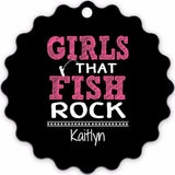 Graphics Inspire - Personalize Girls that Fish Rock Fun Fishing Sun Burst Shaped Metal Ornament with Angler's Name