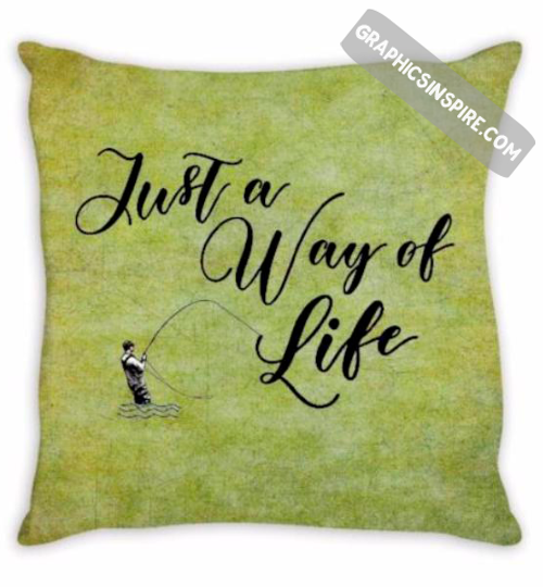Fly Fishing Just a Way of Life Textured Anglers Throw Pillow