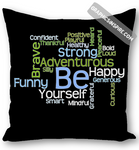 BE Yourself Motivational Word Cloud to Inspire Throw Pillow