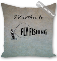 I'd Rather be Fly Fishing Textured Background Anglers Throw Pillow