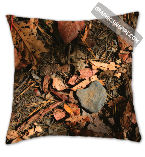 Graphics Inspire Throw Pillow - Love on the Trail When A Heart Rock Finds You Rustic Throw Pillow