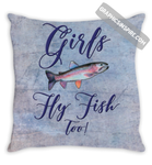 Girls Fly Fish Too Rainbow Trout Purple Throw Pillow