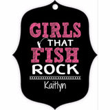 Graphics Inspire - Personalize Girls that Fish Rock Fun Fishing Fancy Mirror Shaped Metal Ornament with Angler's Name