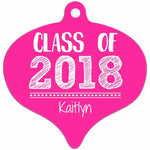 Graphics Inspire - Personalize Class of 2018 Graduation Hand Sketched Rain Drop Shaped Metal Ornament with Graduate's Name