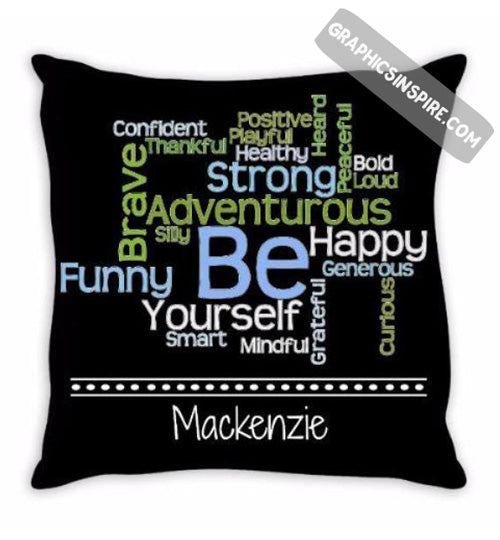Graphics Inspire - Personalize BE Yourself Motivational Word Cloud Throw Pillow with Name