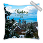 Graphics Inspire -Christmas In Our New Home 2017 Snowy Rustic Cabins in Mountains Throw Pillow