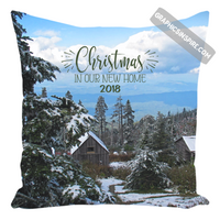 Graphics Inspire Pillow - Christmas In Our New Home 2018 Snowy Rustic Cabins in Mountains Throw Pillow