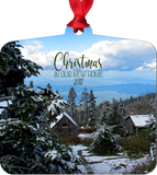 Graphics Inspire - Christmas In Our New Home 2017 Snowy Rustic Cabins in Mountains Metal Ornament