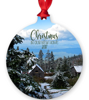 Graphics Inspire Ornament - Christmas In Our New Home 2017 Snowy Rustic Cabins in Mountains Metal Ornament