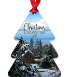 Christmas In Our New Home 2017 Snowy Rustic Cabins in Mountains Metal Ornament