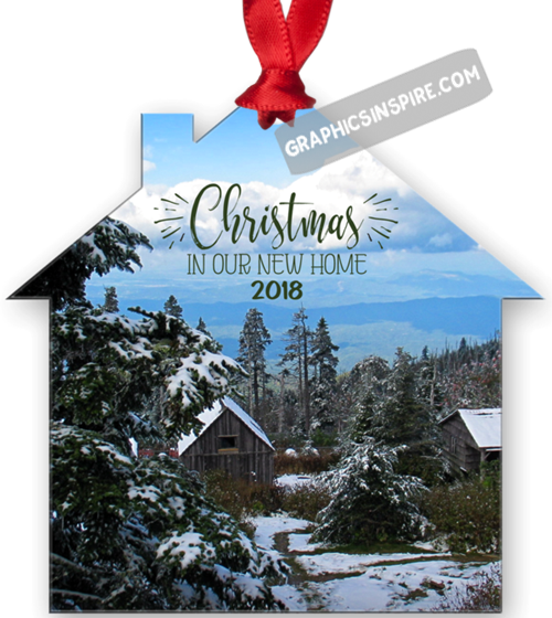 Graphics Inspire Ornament - Christmas In Our New Home 2018 Snowy Rustic Cabins in Mountains Metal Ornament