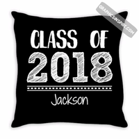 Graphics Inspire - Personalize Class of 2018 Graduation Hand Sketched Throw Pillow with Graduate's Name