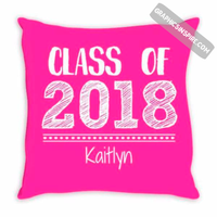 Graphics Inspire - Personalize Class of 2018 Graduation Hand Sketched Pink Throw Pillow with Graduate's Name