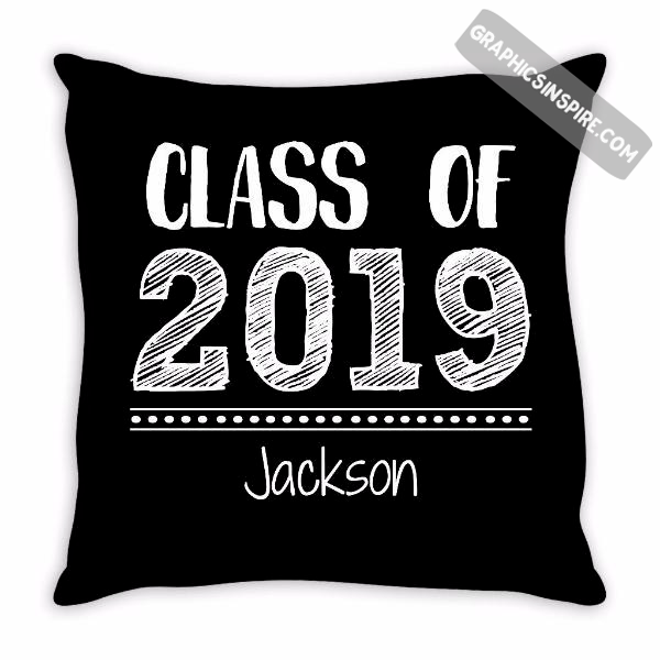 Graphics Inspire - Personalize Class of 2019 Graduation Hand Sketched Throw Pillow with Graduate's Namek