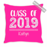 Graphics Inspire - Personalize Class of 2019 Graduation Hand Sketched Pink Throw Pillow with Graduate's Name