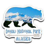 Graphics Inspire Decal - Denali National Park Alaska in Grizzly Bear Die-Cut Decal