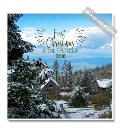 Graphics Inspire Canvas - First Christmas In Our New Home 2018 Snowy Rustic Cabins in Mountains Canvas Wrap