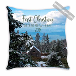 Graphics Inspire - First Christmas in our New Home 2017 Snowy Rustic Cabins Holiday Throw Pillow