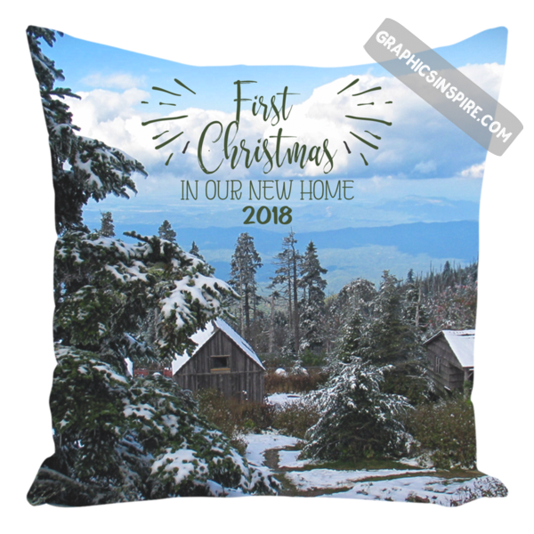 Graphics Inspire Pillow - First Christmas In Our New Home 2018 Snowy Rustic Cabins in Mountains Throw Pillow