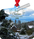 Graphics Inspire Ornament - First Christmas In Our New Home 2018 Snowy Rustic Cabins in Mountains Metal Ornament