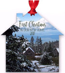 Graphics Inspire - First Christmas in our New Home 2017 Snowy Rustic Cabins Holiday Metal Ornament