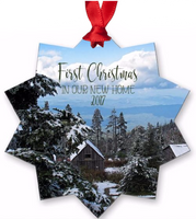 Graphics Inspire Ornament - First Christmas in our New Home 2017 Snowy Rustic Cabins Holiday Metal Ornament