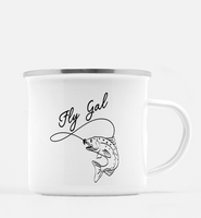 Graphics Inspire Mug - Fly Gal Fly Fish Rainbow Trout 10 oz. Metal Camp Mug