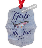 Graphics Inspire Ornament - Girls Fly Fish Too Rainbow Trout Purple Metal Ornament
