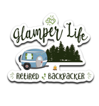 Graphics Inspire Decal - Glamper Life Fun RV Camper Retired Backpacker Camping Die-Cut Decal