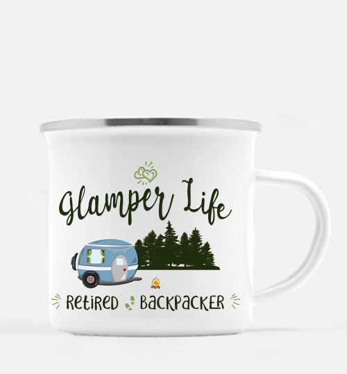 Graphics Inspire Mug - Glamper Life Fun RV Camper Retired Backpacker 10 oz. Metal Camp Mug