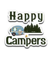 Graphics Inspire Decal - Happy Campers Retro RV Camping Rustic Small Die-Cut Decal