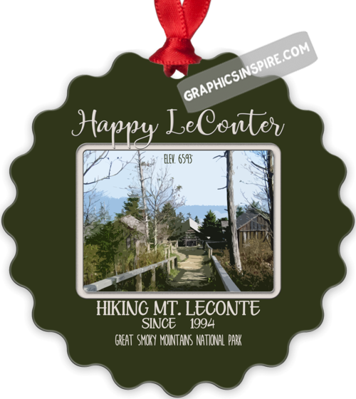 Graphics Inspire Ornament - Personalize Happy LeConter Hiking Mt LeConte in the Great Smoky Mountains Since Year Metal Ornament