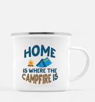 Graphics Inspire Mug - HOME Is Where The CAMPFIRE IS Funny Tent Camping 10 oz. Metal Camp Mug