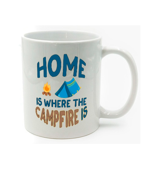 Graphics Inspire Mug - HOME Is Where The CAMPFIRE IS Funny Tent Camping Mug