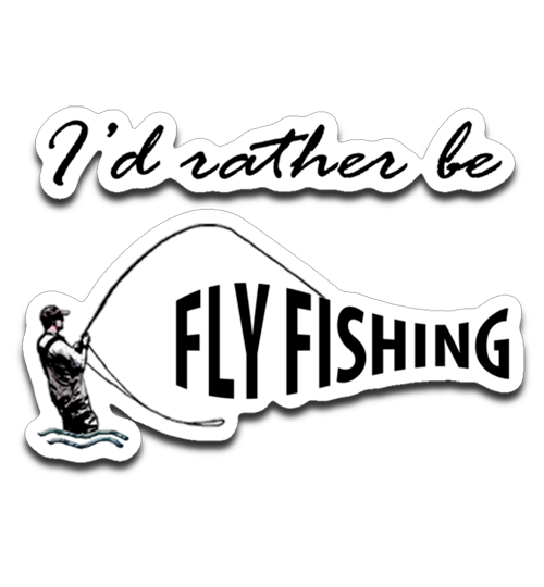 Graphics Inspire Decal - I'd Rather be Fly Fishing Funny Angler's Fly-fishing Die-Cut Decal