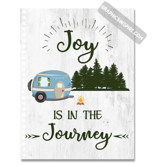 Graphics Inspire Notebook - Joy Is In The Journey RV Camping Wood look Notebook