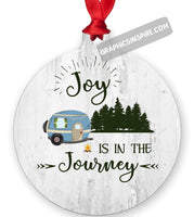 Graphics Inspire Ornament - Joy Is In The Journey RV Camping Wood look Metal Ornament