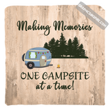 Graphics Inspire Pillow Cover - Making Memories One Campsite At A Time Wood Look Rustic Throw Pillow Cover Only