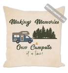 Graphics Inspire Throw Pillow - Making Memories Class C Motor Coach RV Camping Throw Pillow-One Campsite At A Time