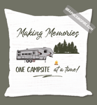 Graphics Inspire Throw Pillow - Making Memories Fifth Wheel Camping One Campsite At A Time Faux Wood Throw Pillow