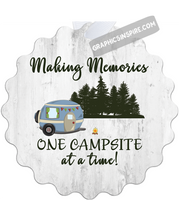Graphics Inspire Ornament -Making Memories One Campsite At A Time White Wood Look Rustic Ornament