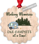 Graphics Inspire Ornament - Making Memories One Campsite At A Time Wood Look Rustic Metal Ornament