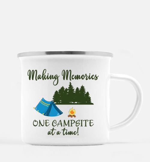 Graphics Inspire Mug - Making Memories One Campsite At A Time Tent Camping 10 oz. Metal Camp Mug