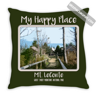 Graphics Inspire - My Happy Place Mt LeConte in the Great Smoky Mountains National Park Green Throw Pillow