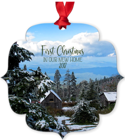 Graphics Inspire Ornament - First Christmas In Our New Home 2017 Snowy Rustic Cabins in Mountains Metal Ornament