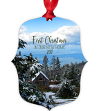 Graphics Inspire - First Christmas In Our New Home 2017 Snowy Rustic Cabins in Mountains Metal Ornament