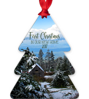 First Christmas In Our New Home 2017 Snowy Rustic Cabins in Mountains Metal Ornament