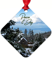 Graphics Inspire Ornament -Peace and Joy Snowy Rustic Cabins on Mt. LeConte  Metal Ornament