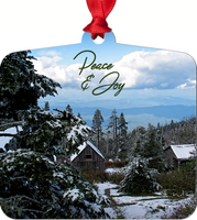 Graphics Inspire - Peace and Joy Snowy Rustic Cabins on Mt. LeConte  Metal Ornament