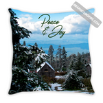 Graphics Inspire - Peace and Joy Snowy Rustic Cabins on Mt. LeConte Throw Pillow
